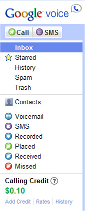 Google Voice's main panel